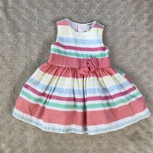 Carter's Striped Dress Size 3 Months Pink White